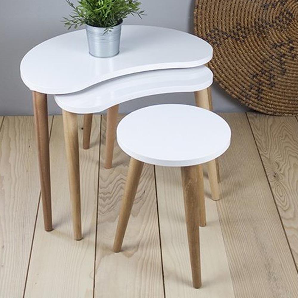 BEAN ZIGON COFFEE TABLE WHITE (NT3-342)
