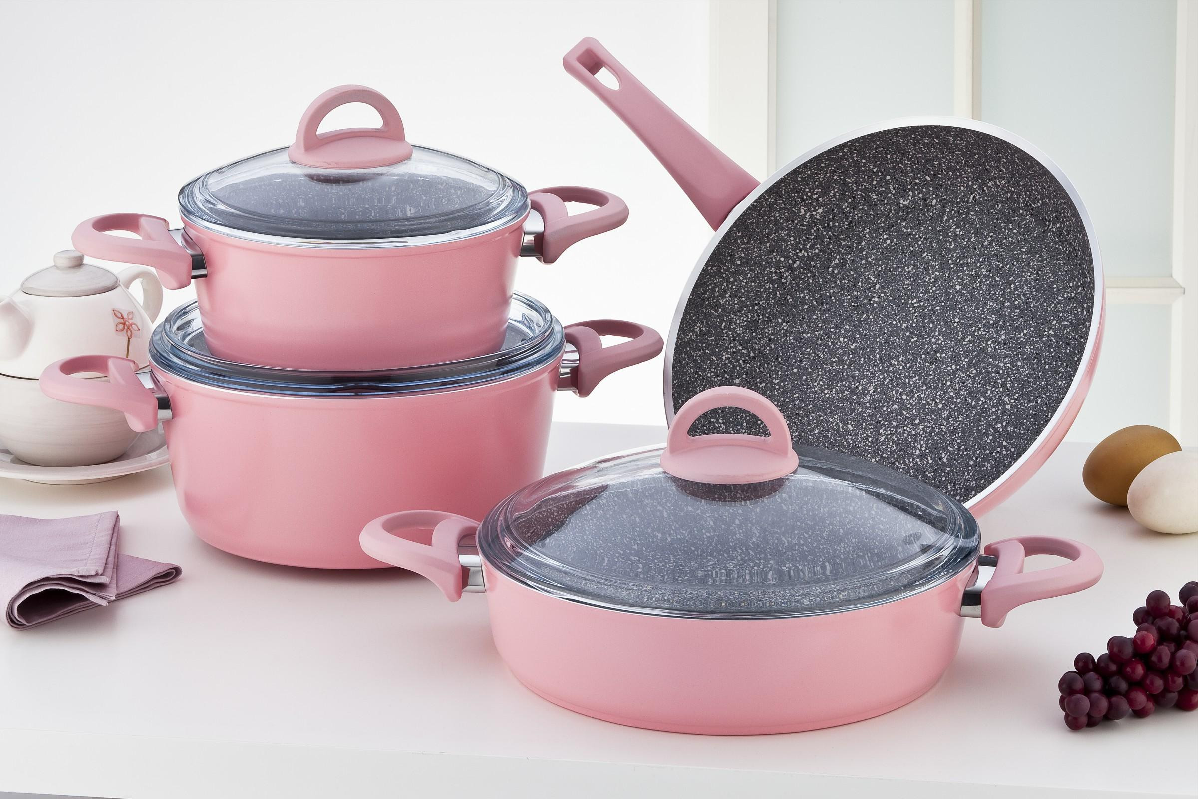 Sofram GRANIT 7 Pieces Pink Cookware Set