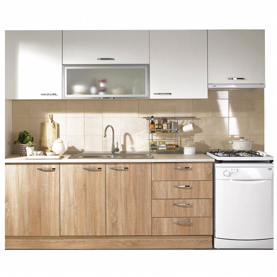 Cool Andalusian White Oak Kitchen Cabinet with Aspirator Module 270 cm