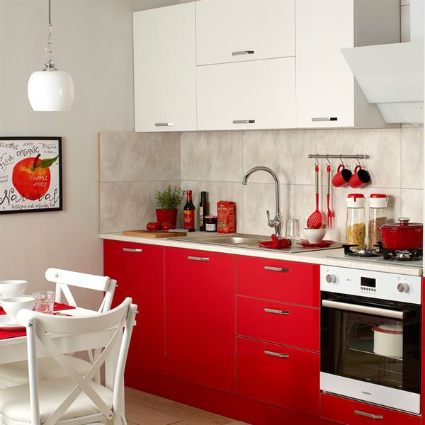 Palmira Red White Fitted Kitchen with Built-in Module 240 cm