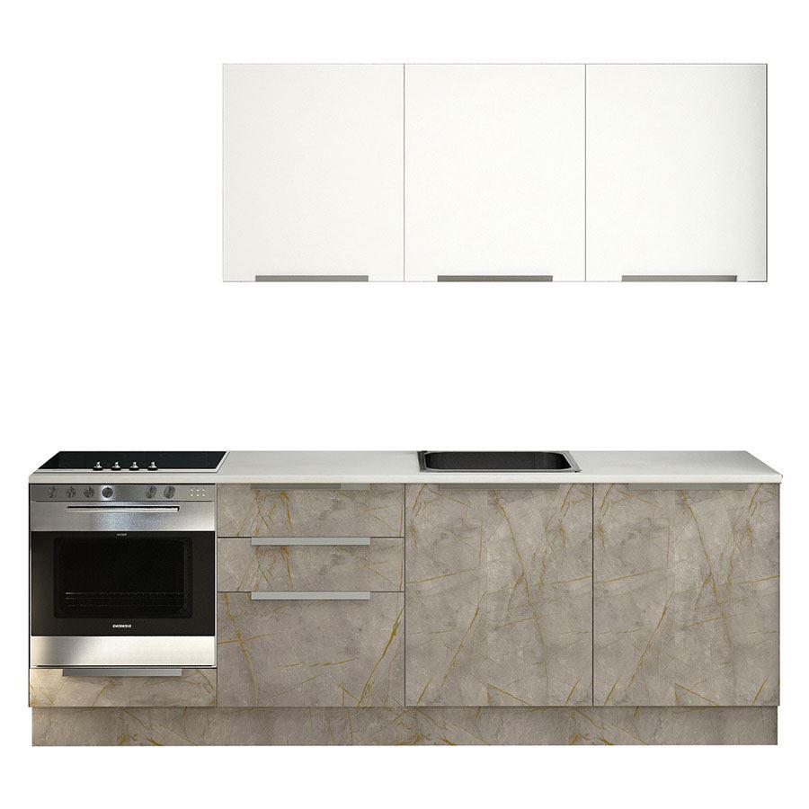 Asin 240 Cm Gray Marble Pattern Built-in Modular Kitchen