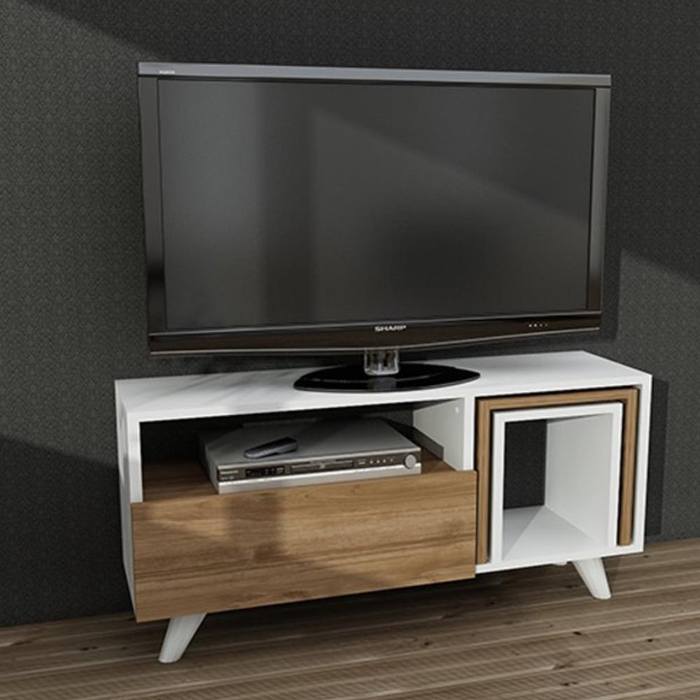 FREJA TV TABLE WHITE WALNUT 90CM (DI3-377)