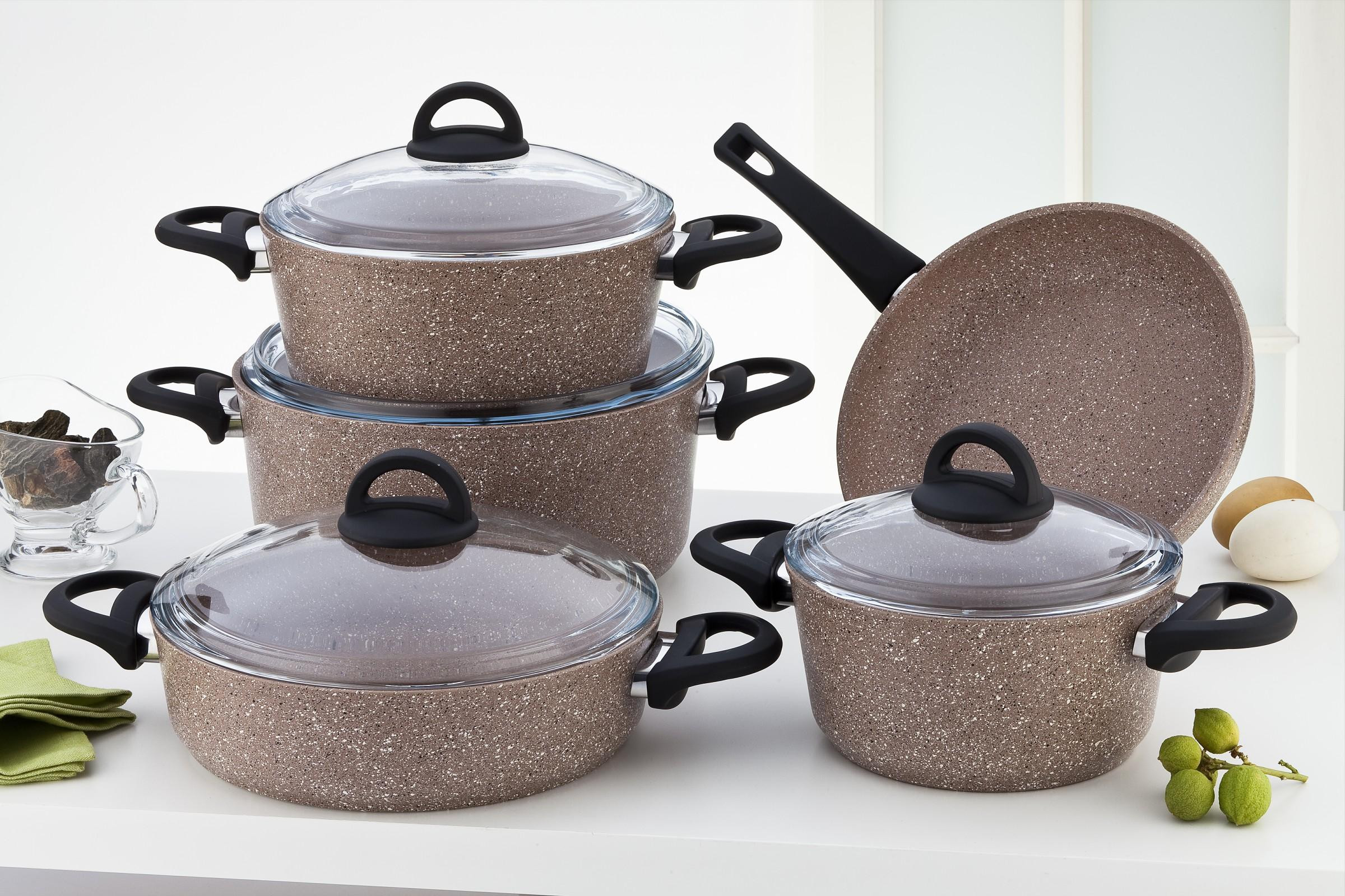 Sofram GRANIT 9 Pieces Brown Cookware Set