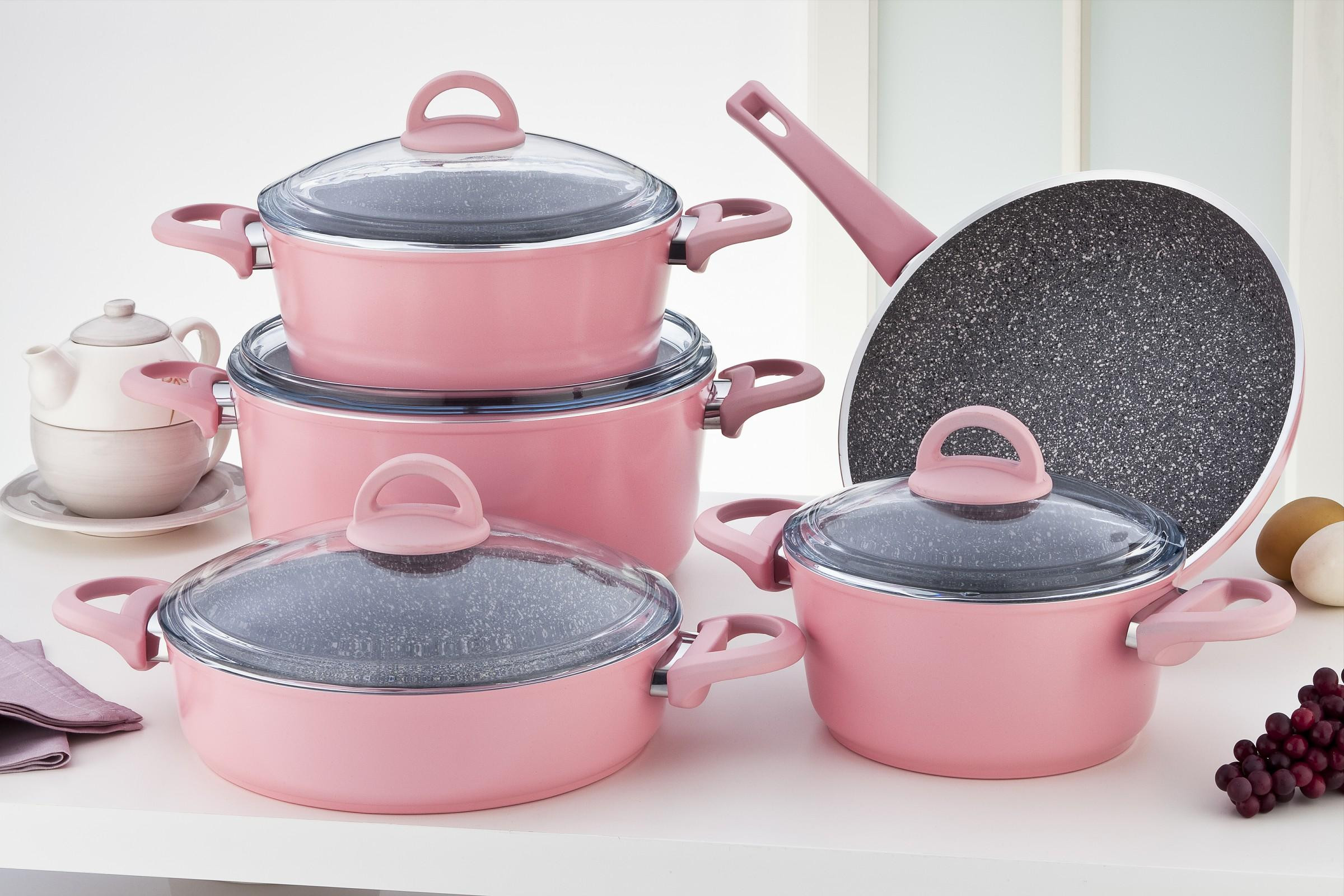 Sofram GRANIT 9 Pieces Pink Cookware Set