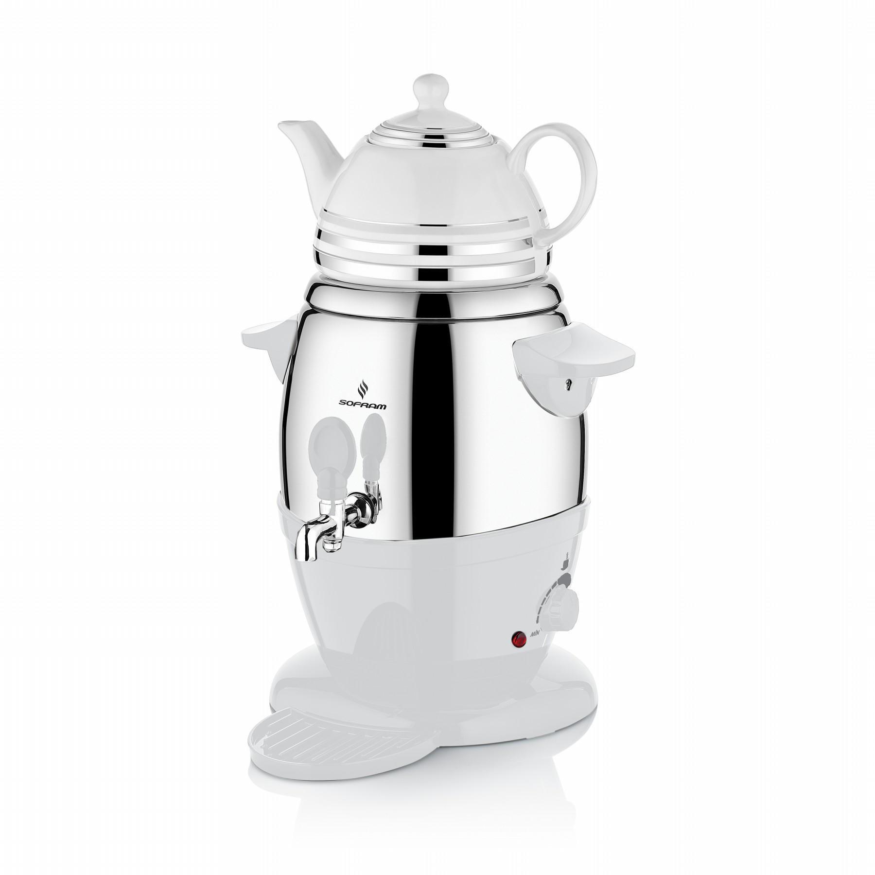 Sofram Electric Turkish Tea Porcelain White Semavor