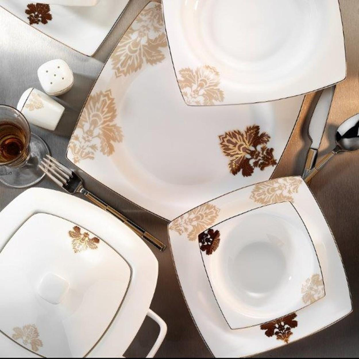 Kutahya Porselen KARE BONE 83 Pieces 60106 Patterned Dinnerware Set