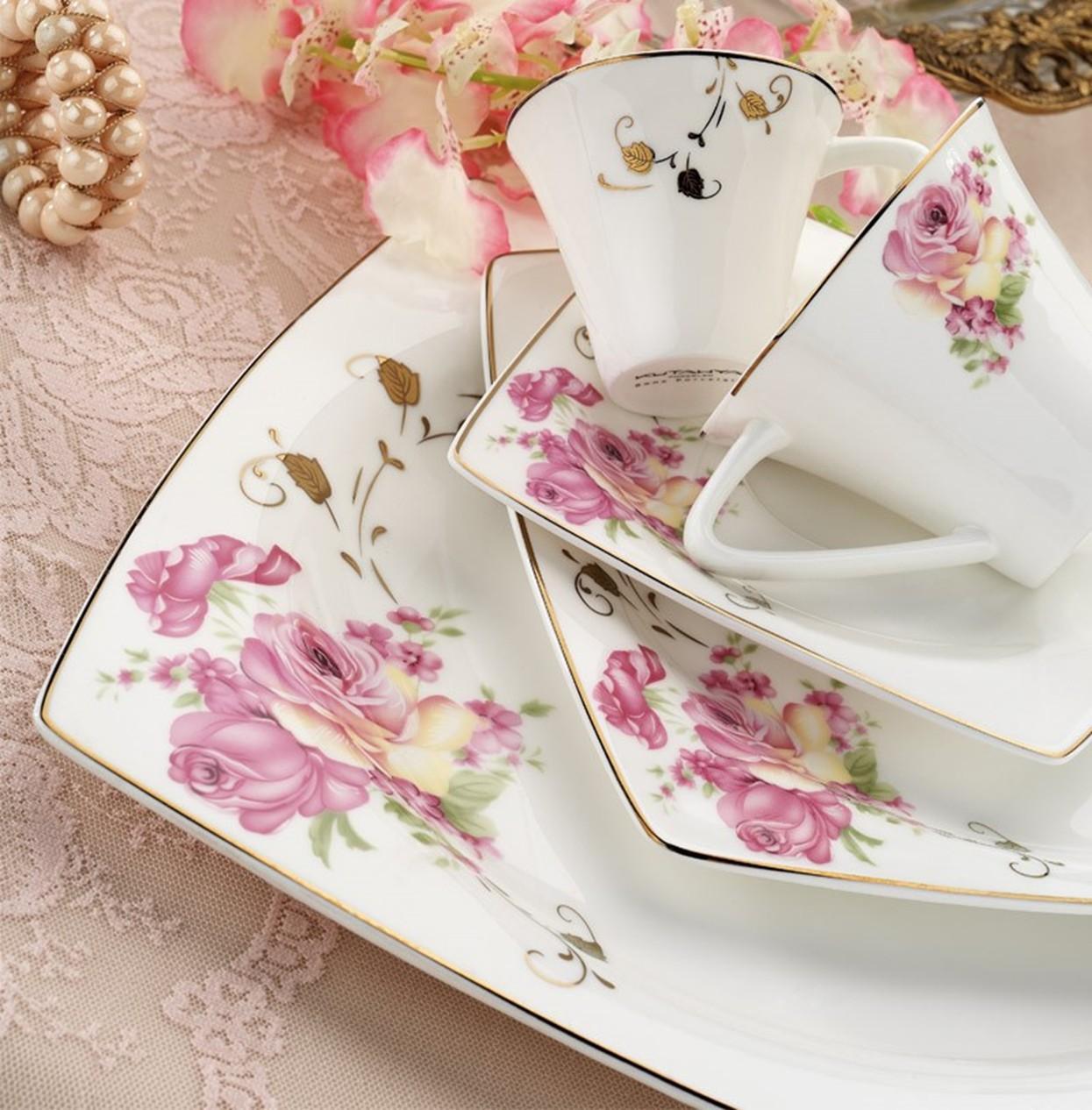 Kutahya Porselen KARE BONE 83 Pieces 65113 Patterned Dinnerware Set