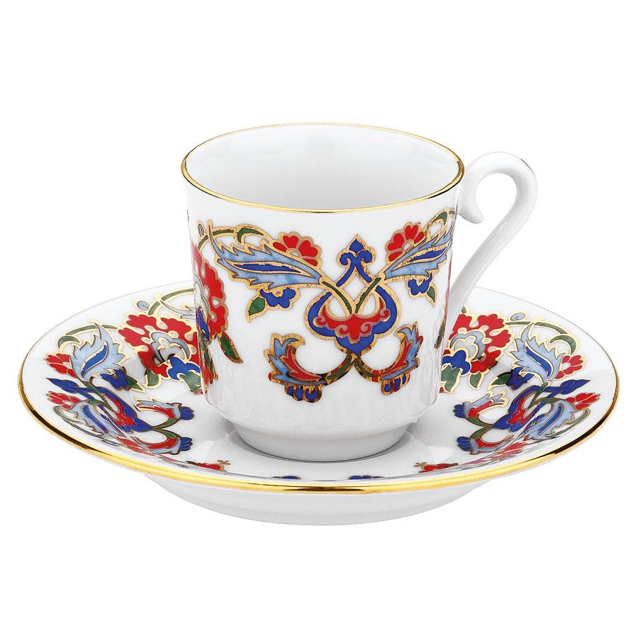 Kutahya Porselen GZ12KT07452 Hand Painted Coffee Set for 6 Persons