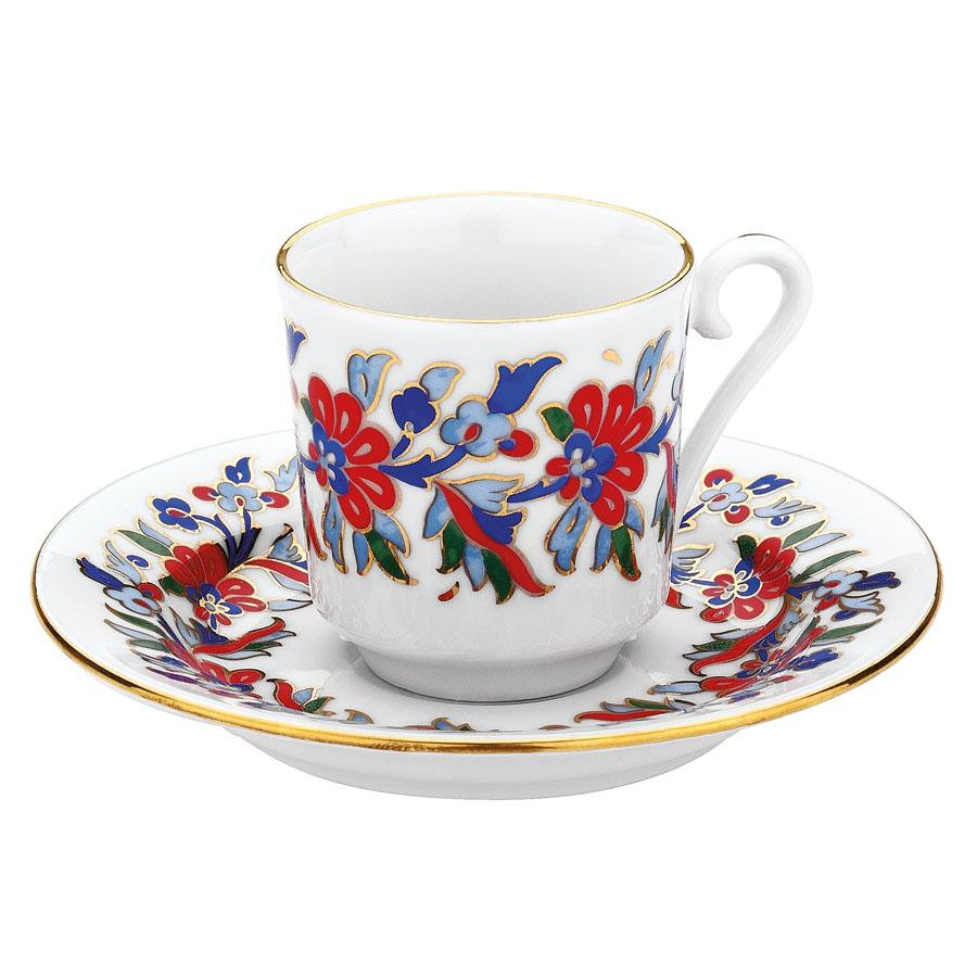 Kutahya Porselen GZ12KT07459 Hand Painted Coffee Set for 6 Persons