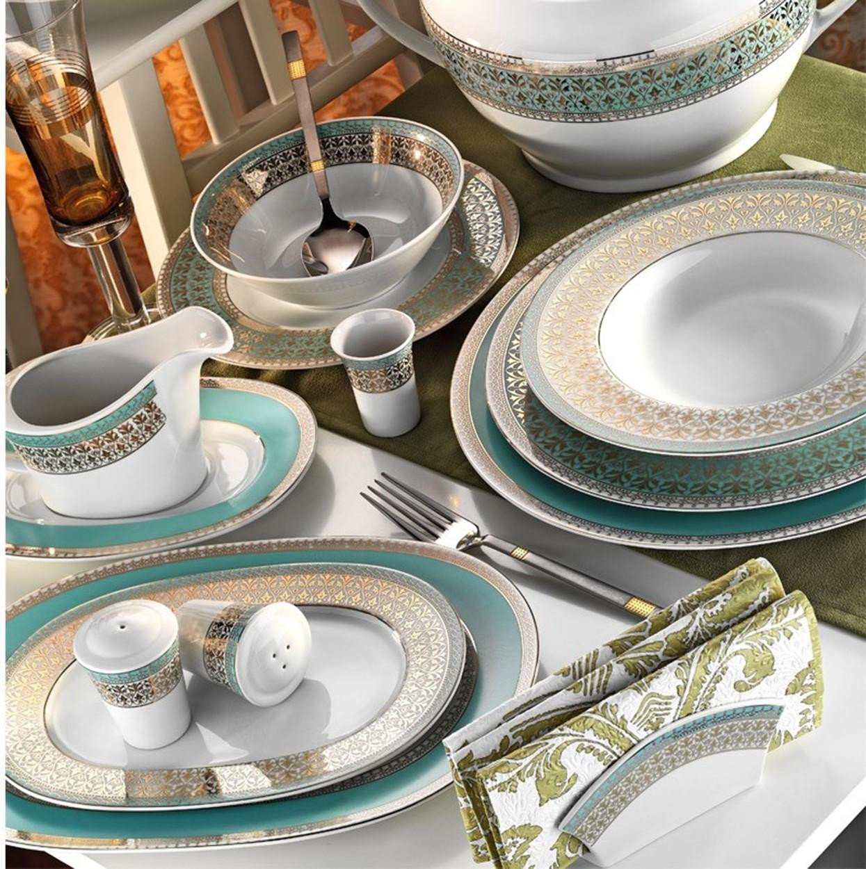 Kutahya Porselen LEONBERG 97 Pieces 7798 Patterned Dinnerware Set