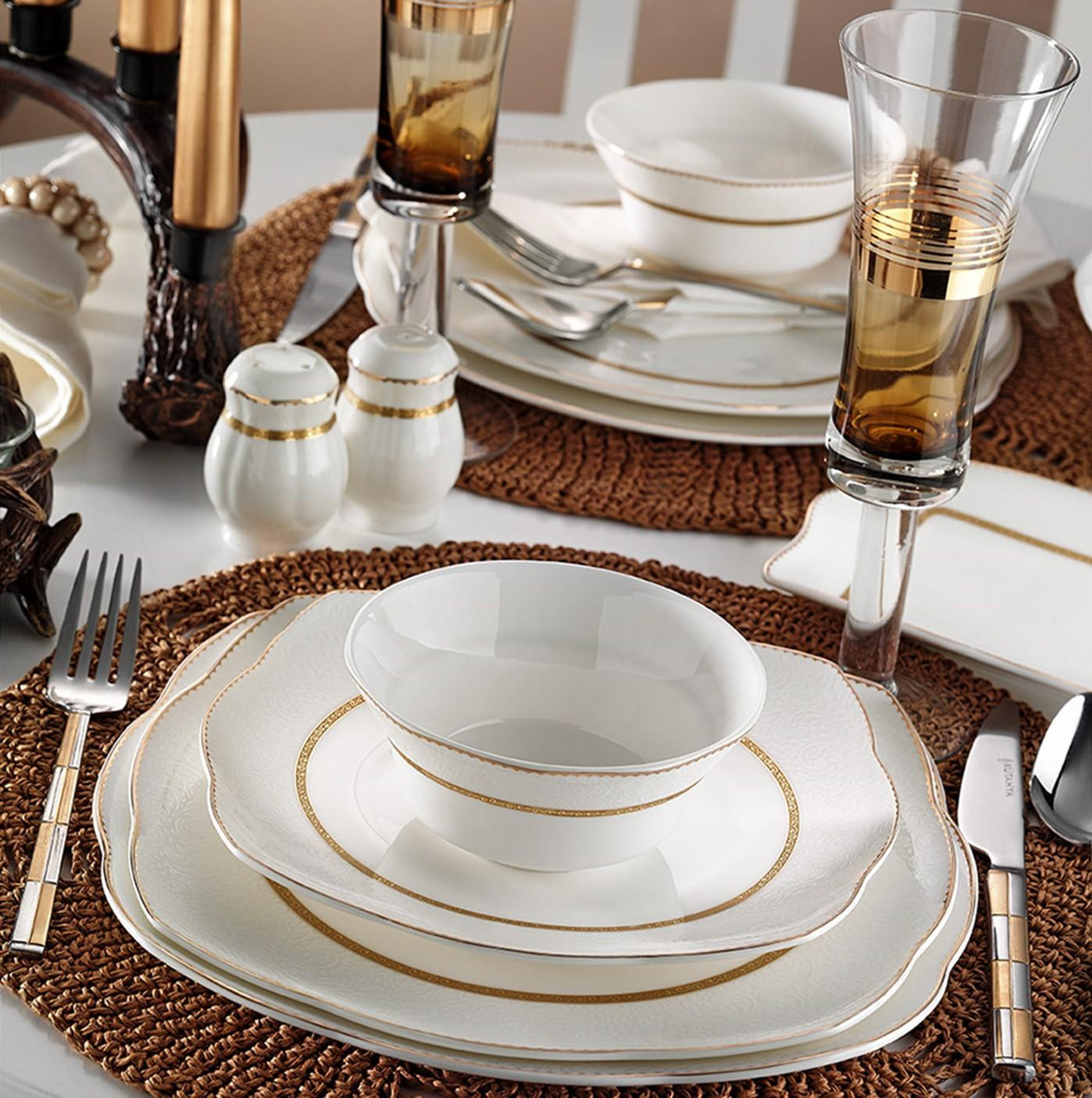 Kutahya Porselen KARE BONE 73 Pieces 50111 Patterned Dinnerware Set