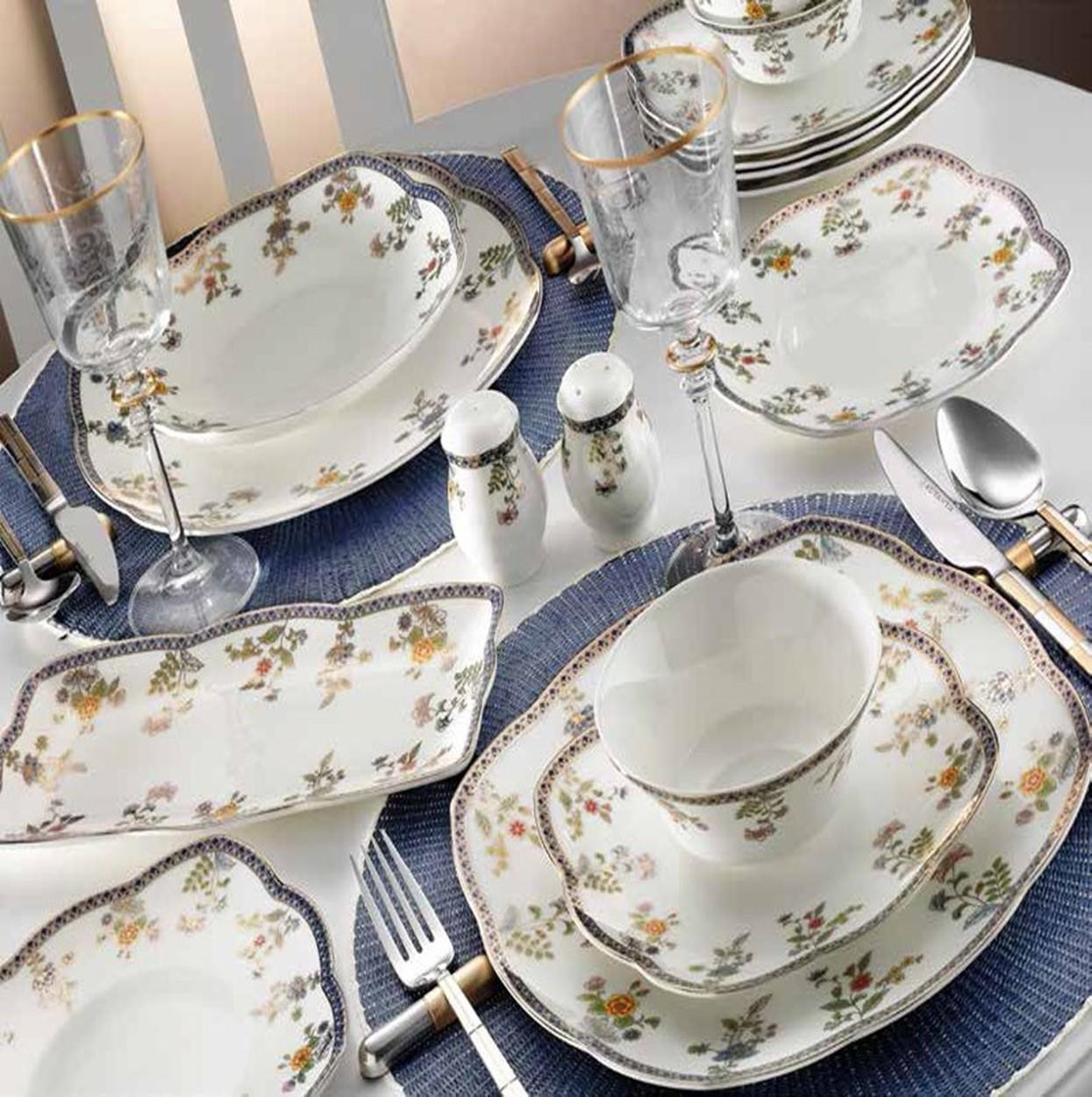 Kutahya Porselen KARE BONE 73 Pieces 50103 Patterned Dinnerware Set
