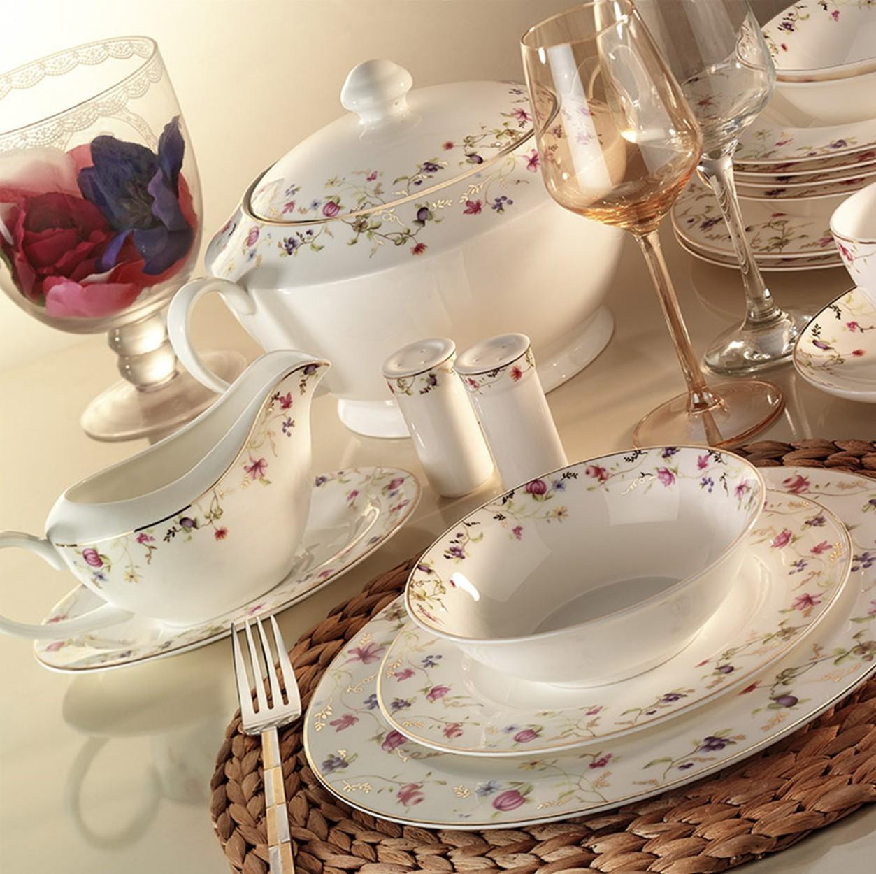 Kutahya Porselen BONE CHINA 84 Pieces 25133 Patterned Dinnerware Set