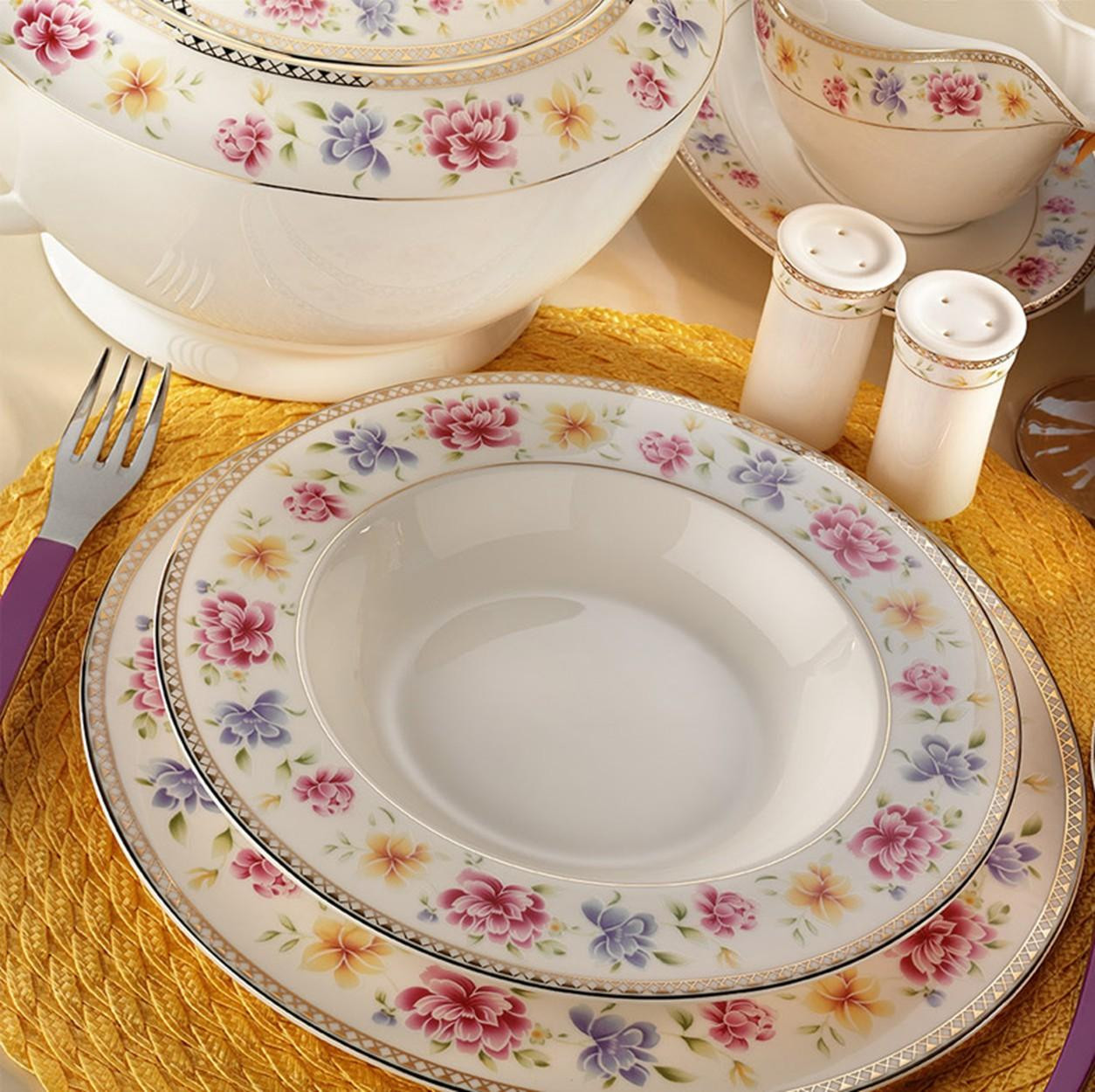 Kutahya Porselen BONE CHINA 84 Pieces 25136 Patterned Dinnerware Set