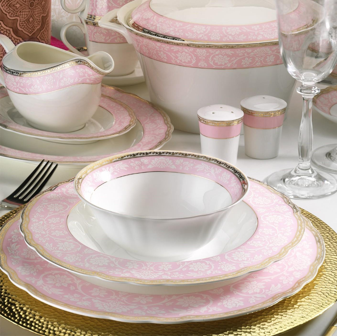 Kutahya Porselen ASPENDOS BONE 84 Pieces 25145 Patterned Dinnerware Set