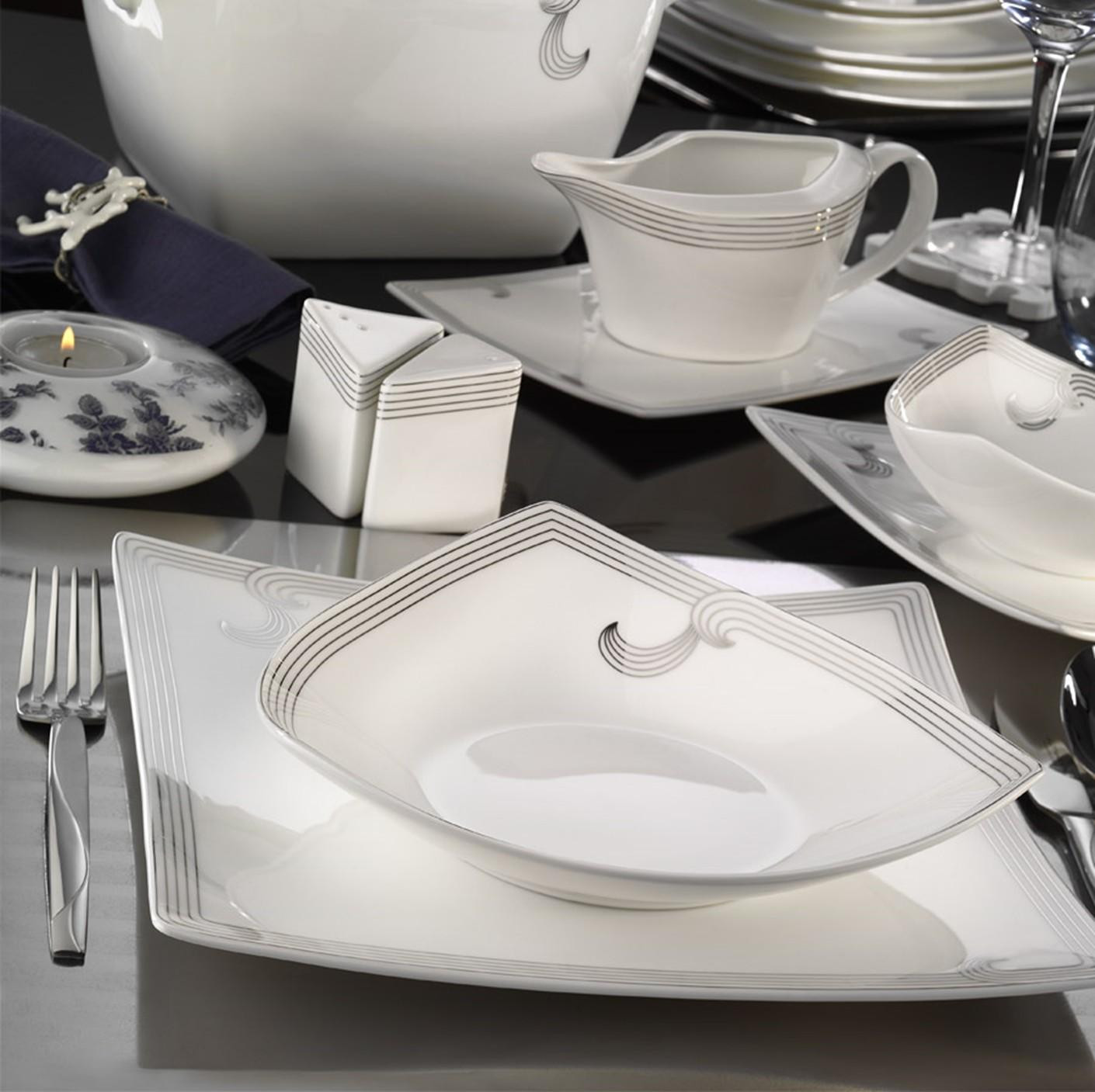 Kutahya Porselen PHASELIS BONE Patterned 83 Pieces 65126 Dinnerware Set