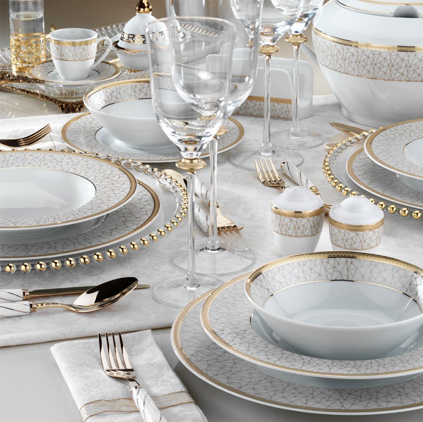 Kutahya Porselen FINE BONE Patterned 82 Pieces 8690 Dinnerware Set