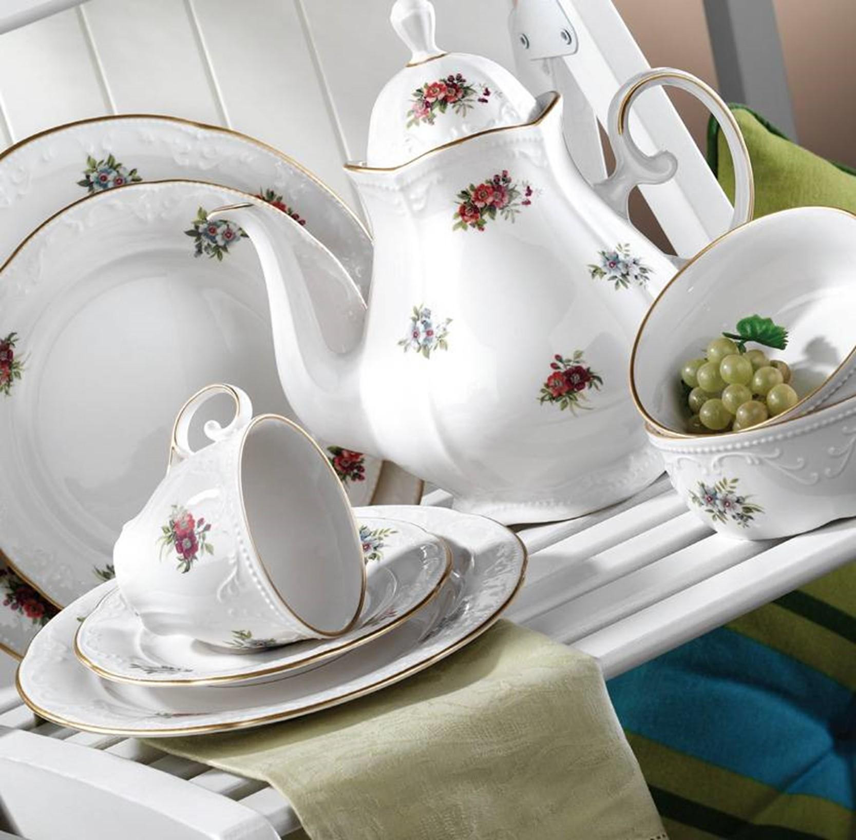 Kutahya Porselen MITTERTEICH CAPRICE 42 Pieces 6077 Patterned Dinnerware Set