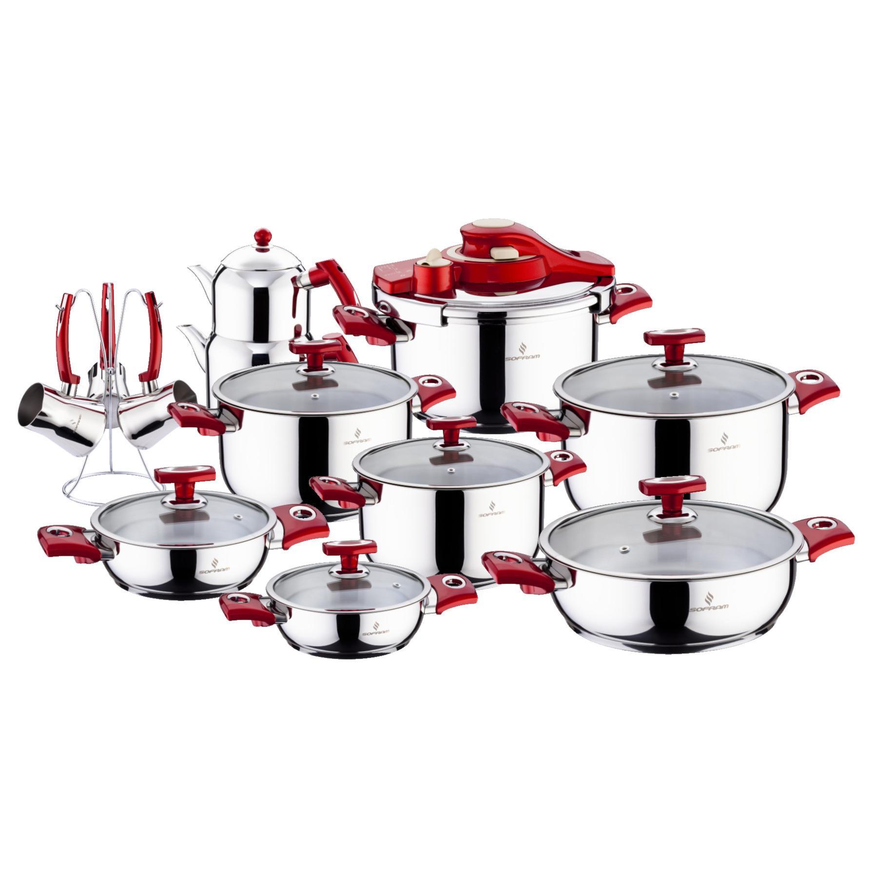 Sofram KUPON 22 Pieces Red Cookware Set