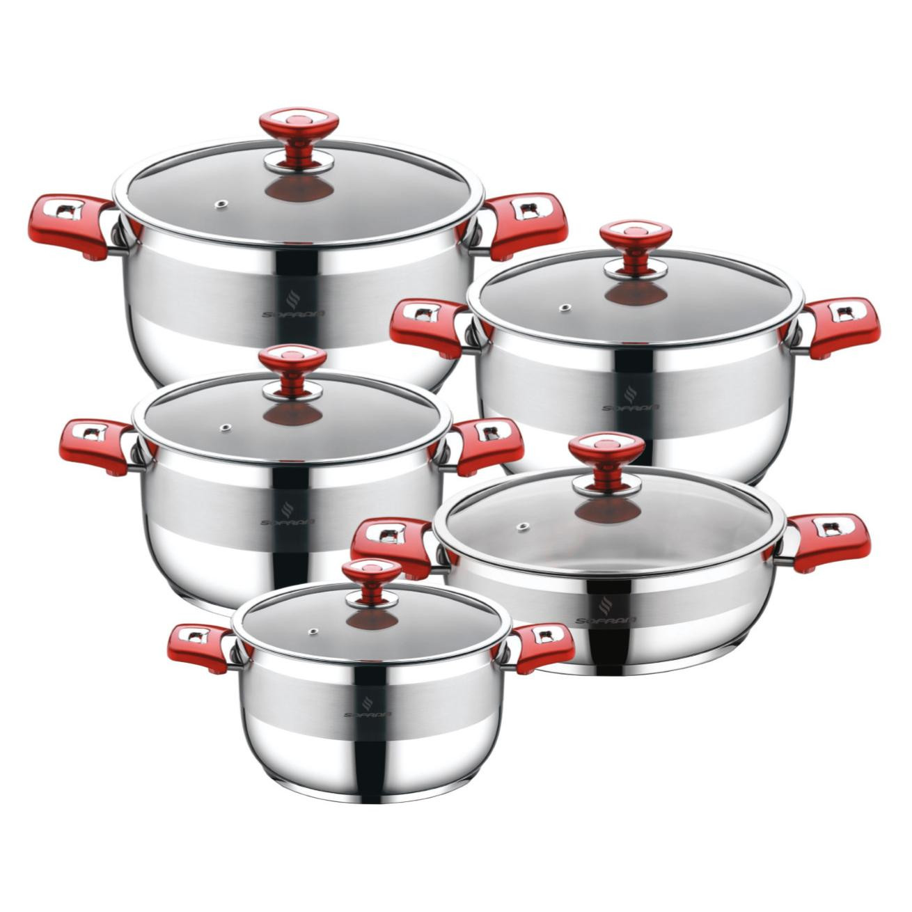 Sofram NOVA 10 Pieces Red Cookware Set
