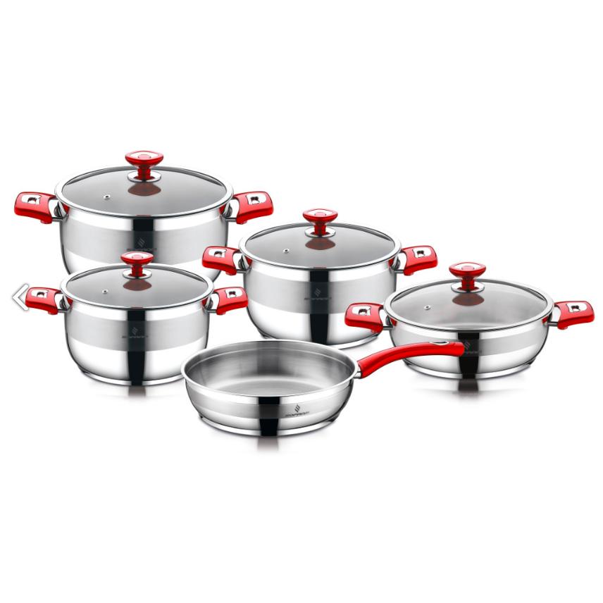Sofram NOVA 9 Pieces Red Cookware Set