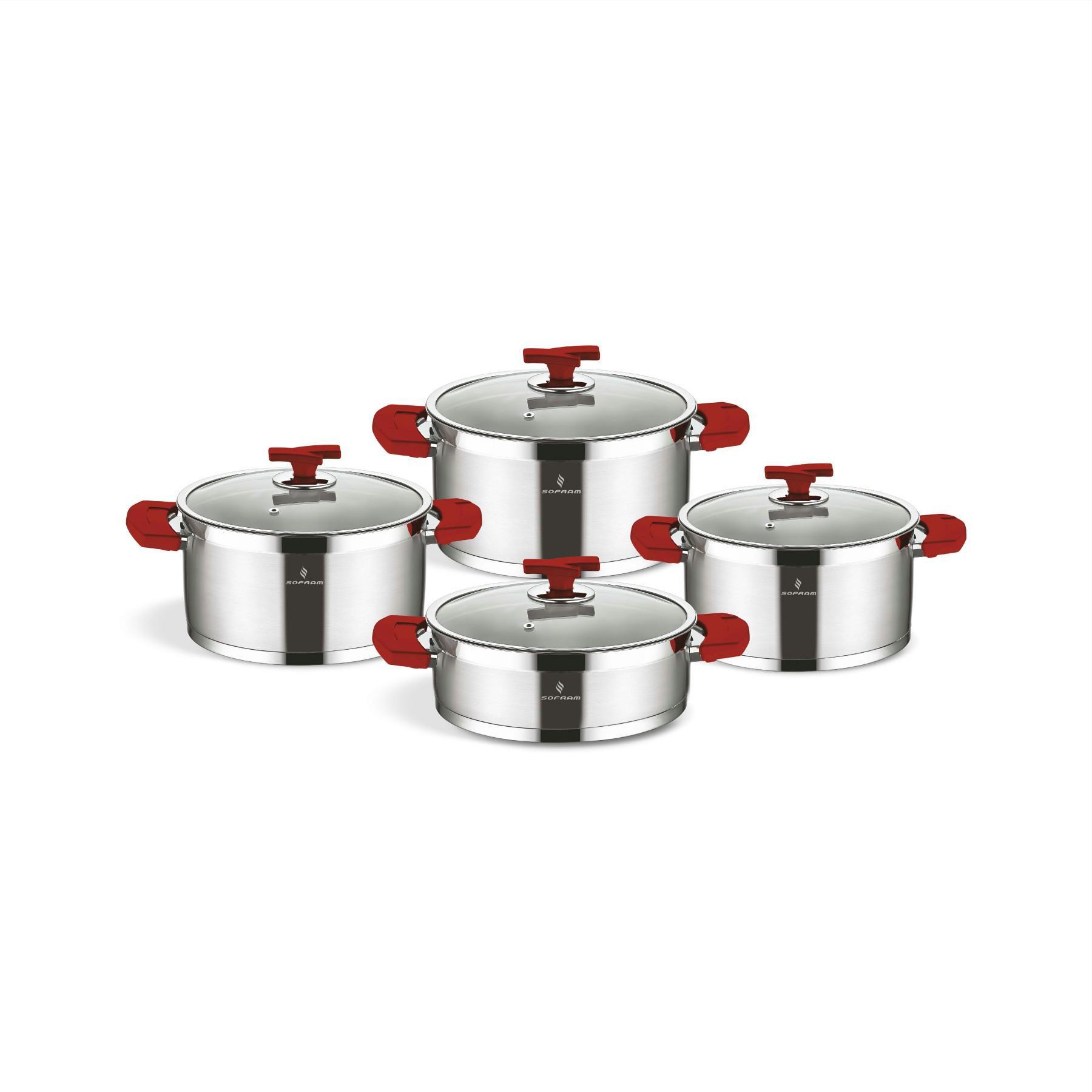 Sofram TETRA 8 Pieces Red Cookware Set