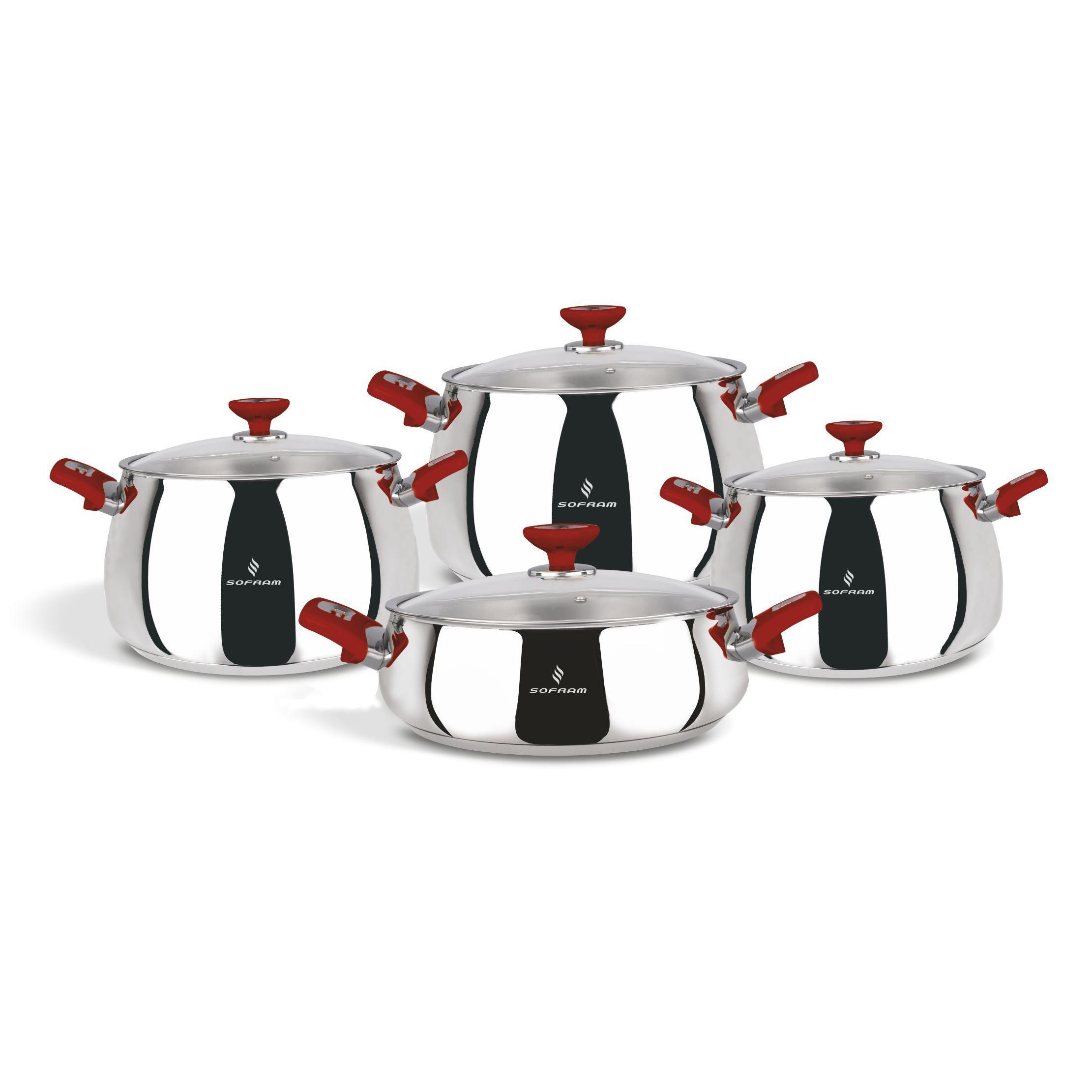 Sofram VENUS 8 Pieces Red Cookware Set