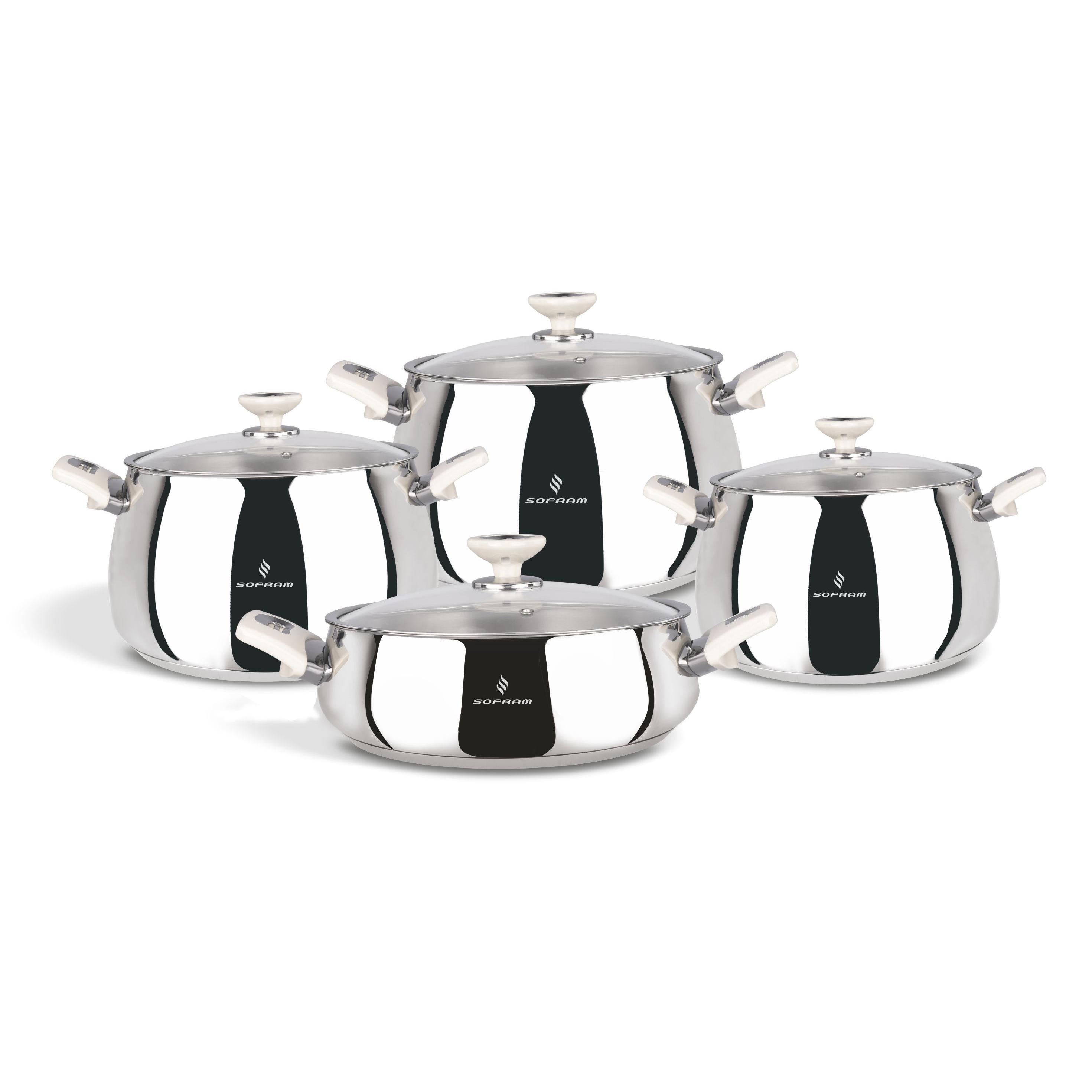 Sofram VENUS 8 Pieces Cream Cookware Set
