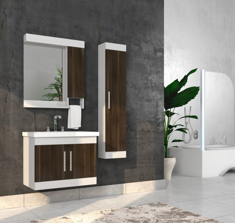 Bathroom washbasin with cabinet 3 pieces 1012