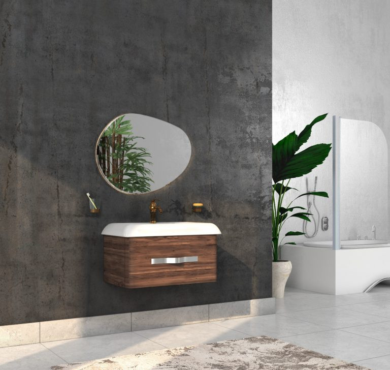 Bathroom washbasin with cabinet 2 pieces 1007