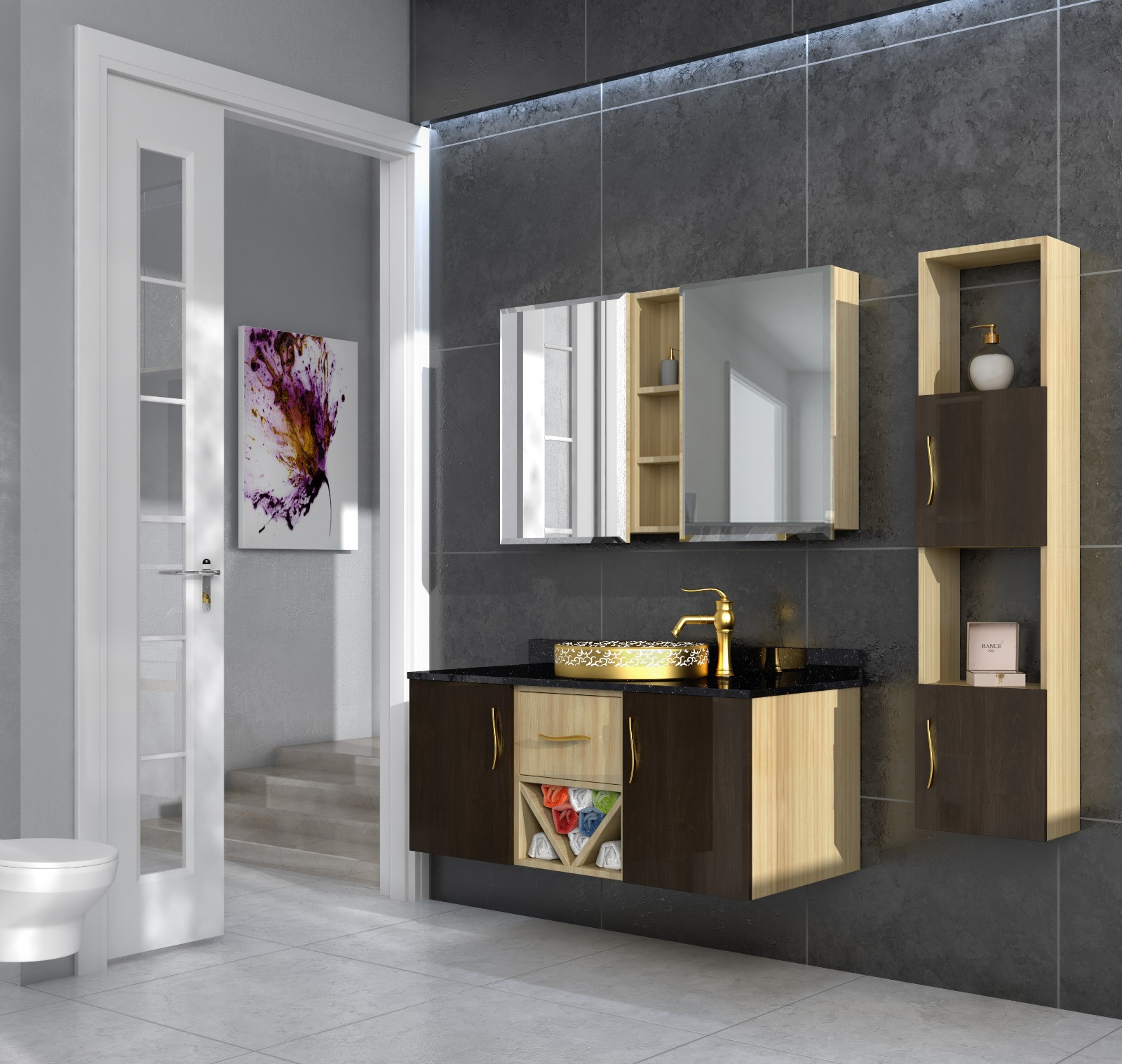 Bathroom washbasin with cabinet 3 pieces 1034