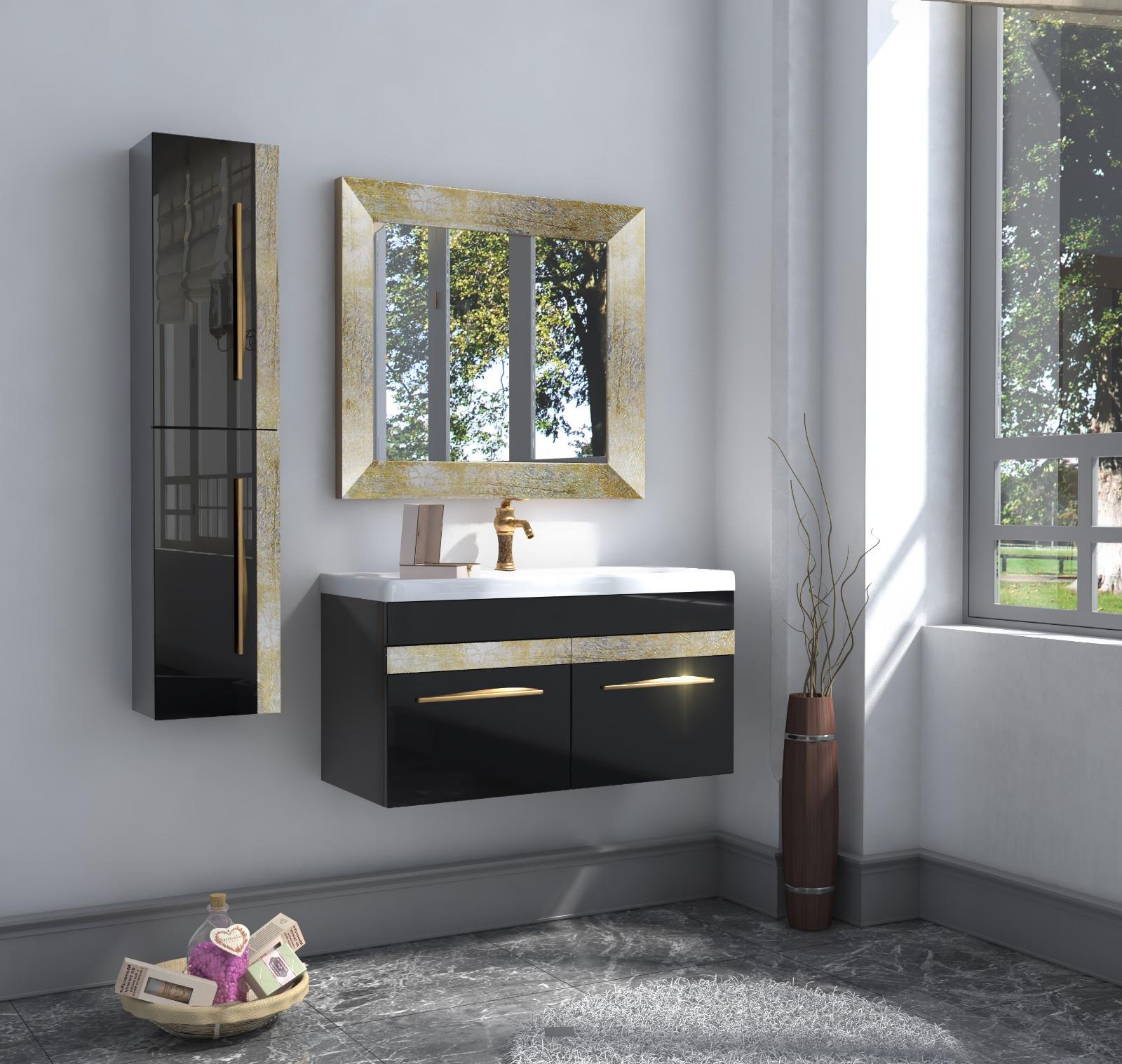 Bathroom washbasin with cabinet 3 pieces1017