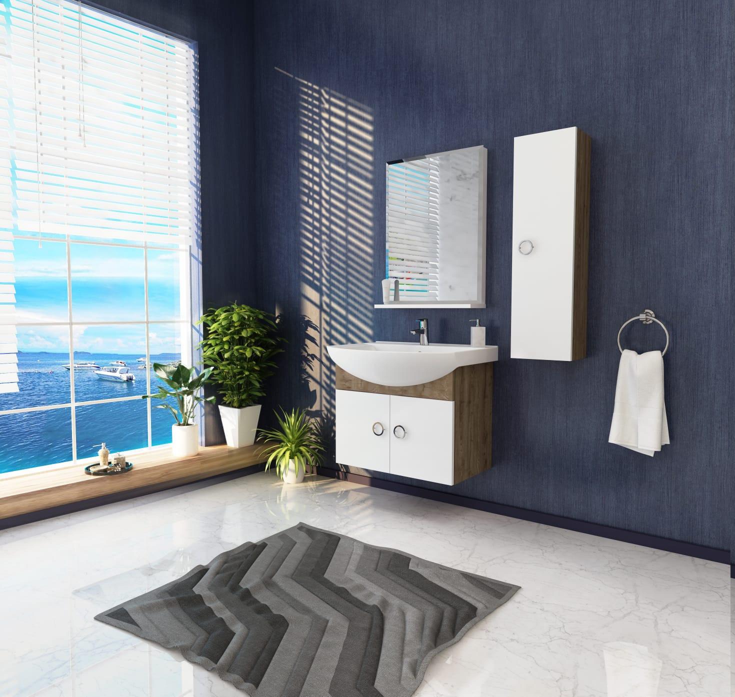 Bathroom washbasin with cabinet 3 pieces 201