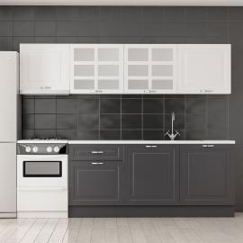 Look Kitchen Cabinet with Anthracite Membrane Aspirator Module 255 cm