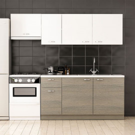 Anthracite Oak Kitchen Cabinet with Aspirator Module 220 cm