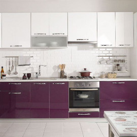 Cool Built-in Modular Plum White Kitchen Cabinet 270 cm