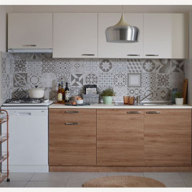 Bms Ready Made Kitchen Cabinet with Aspirator Module 240 cm White Oak (Worktop Included)