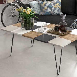 LEAF METAL LEG STAND COLOR MIDDLE TABLE CIRAGAN ANTHRACITE WHITE (MG3-1037)