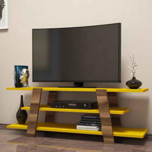 TV TABLE Flower With Shelfs White And Yellow Color (VC3-131)