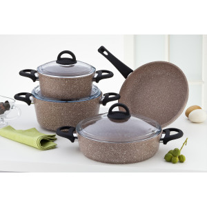 Sofram GRANIT 7 Pieces Brown Cookware Set
