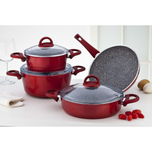 Sofram GRANIT 7 Pieces Red Cookware Set