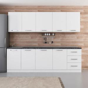 Ranim Furniture Fitted Kitchen Cabinet 260 cm White