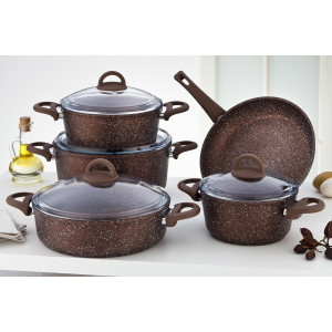 Sofram GRANIT 9 Pieces Bronze Cookware Set