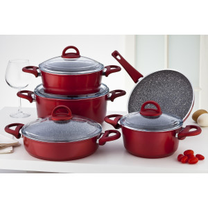 Sofram GRANIT 9 Pieces Red Cookware Set