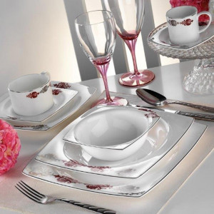 Kutahya Porselen KARE BONE 83 Pieces 60107 Patterned Dinnerware Set