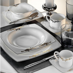 Kutahya Porselen KARE BONE 83 Pieces 60111 Patterned Dinnerware Set
