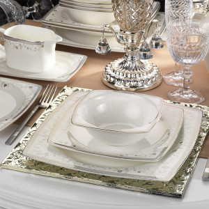 Kutahya Porselen KARE BONE 83 Pieces 25152 Patterned Dinnerware Set