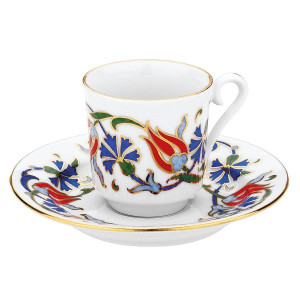 Kutahya Porselen GZ12KT07460 Hand Painted Coffee Set for 6 Persons