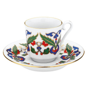 Kutahya Porselen GZ12KT07551 Hand Painted Coffee Set for 6 Persons