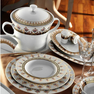 Kutahya Porselen IRIS 97 Pieces 6611 Patterned Dinnerware Set